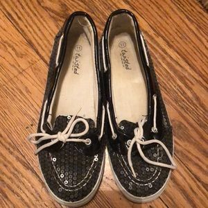 TWISTED Sequined Boat Shoes Size 11
